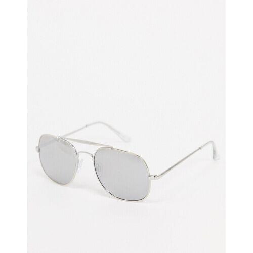 River Island – Pilotensonnenbrille mit verspiegelten Gläsern-Grau No Size