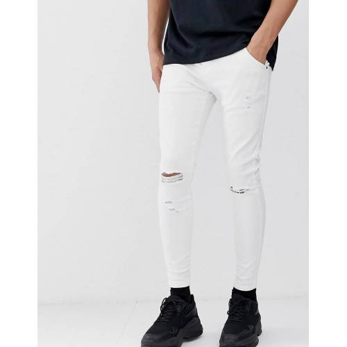 SikSilk – Enge Jeans in Weiß XL