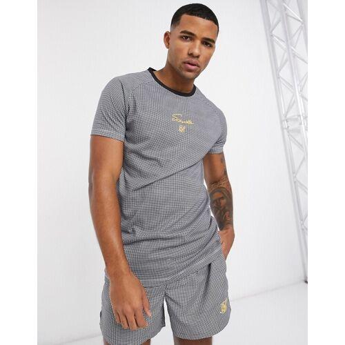 SikSilk – Funktions-T-Shirt in Schwarz mit Raglanärmeln und Hahnentrittmuster XL