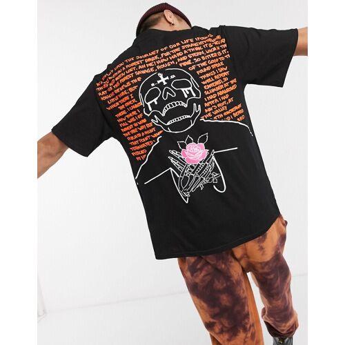 Sixth June – T-Shirt mit Totenschädelaufdruck in Schwarz XS