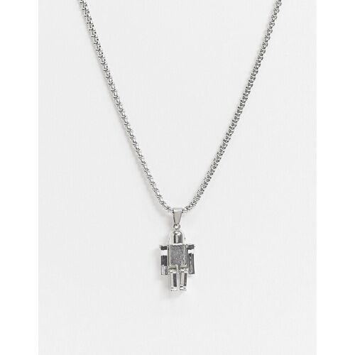 7X SVNX - Halskette mit Roboter-Anhänger-Silber Einheitsgröße