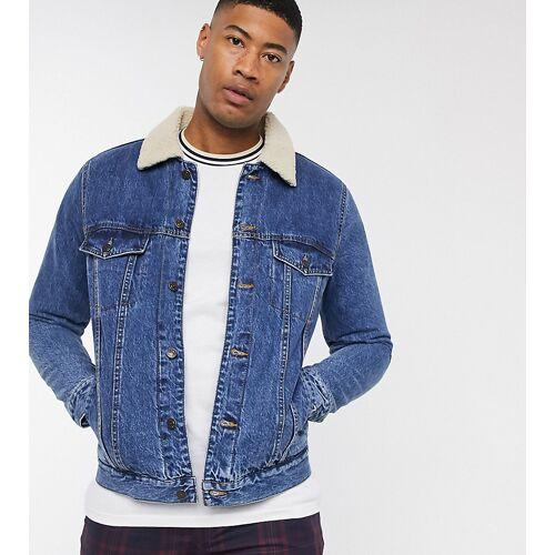Topman – Big & Tall – Blaue Jeansjacke mit Kragen in Lammfelloptik L Long