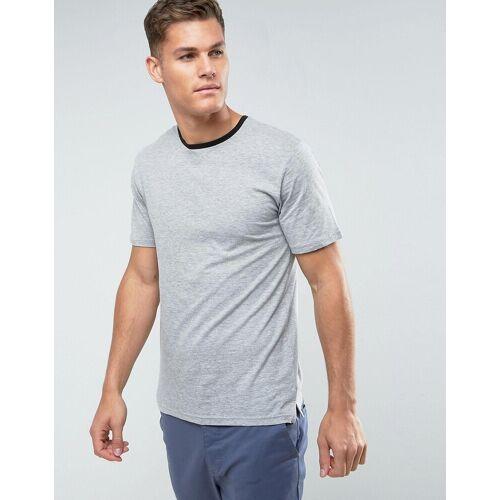 Troy – Ringer T-Shirt in Melange-Grau M