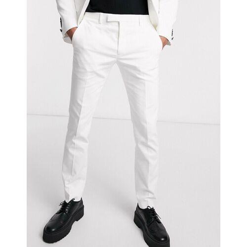 Twisted Tailor – Enge Hochzeitsanzug-Hose in Weiß W36 L32
