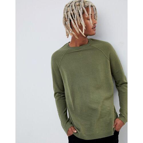 YOURTURN – Gerippter Pullover in Khaki-Grün XS