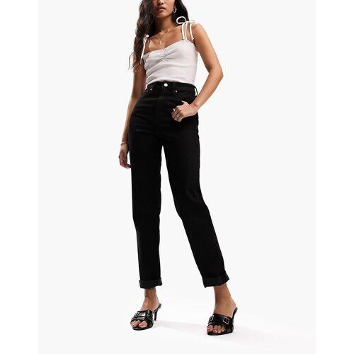 ASOS DESIGN – Farleigh – Schmale Mom-Jeans in reinem Schwarz mit hohem Bund W24 L34