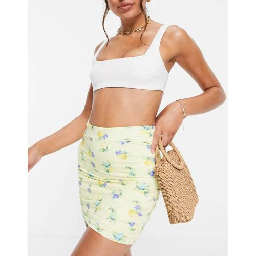 ASOS DESIGN – Geraffter Bikinirock mit Zitronenmuster-Mehrfarbig 36