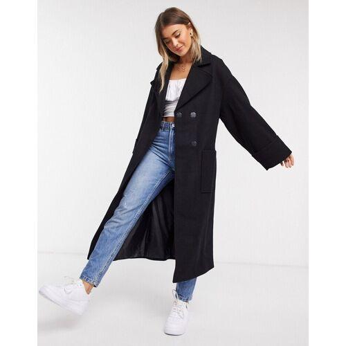 ASOS DESIGN – Lässiger Mantel mit Gürtel in Schwarz 32