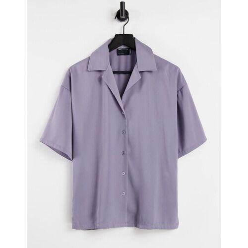 ASOS DESIGN – Lockeres Pyjamahemd in Flieder-Lila 36