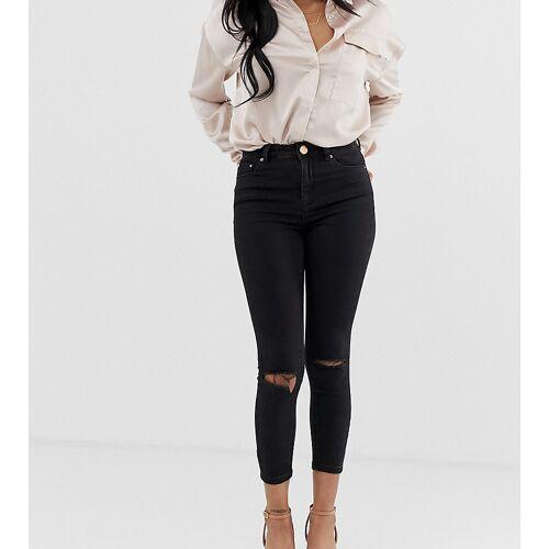 ASOS Petite ASOS DESIGN Petite – Ridley – Enge Jeans mit hohem Bund und aufgerissenen Knien in reinem Schwarz W25 L28