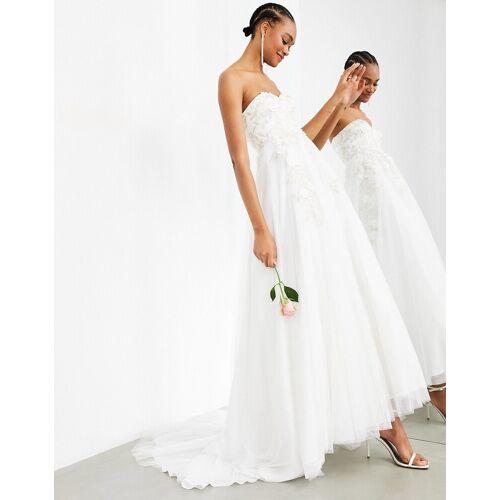 ASOS EDITION – Matilda – Trägerloses Brautkleid mit weitem Rock und Blumenstickerei-Weiß 34