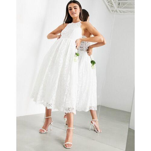 ASOS EDITION – Nidi-Brautkleid mit Neckholder und Spitze-Weiß 36