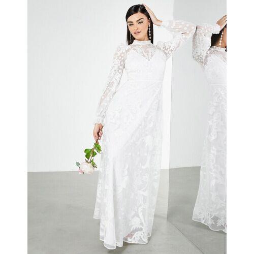 ASOS EDITION – Violet – Hochzeitskleid mit Stickerei und hohem Ausschnitt-Weiß 44