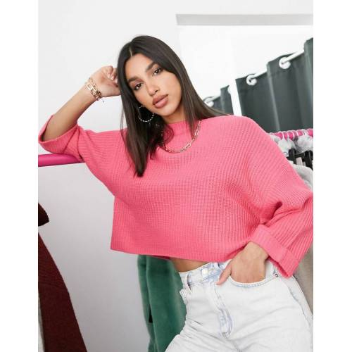 AX Paris – Kurz geschnittener, kastenförmiger Pullover in Fuchsie-Rosa L