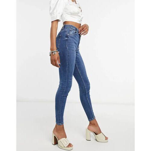 Bershka – Hautenge Jeans in Dunkelblau 32