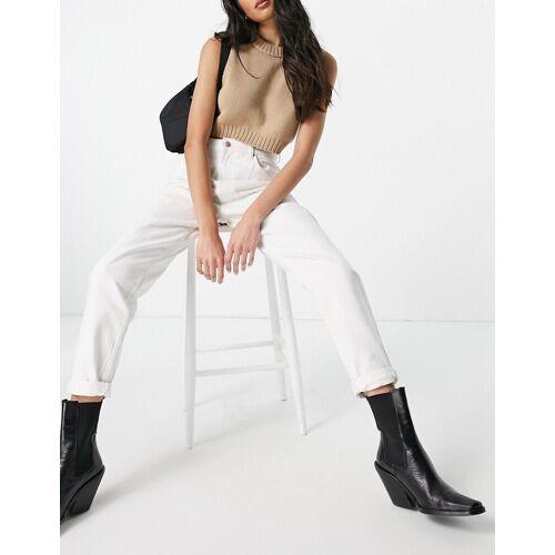 Bershka – Mom-Jeans in Ecru-Weiß 34