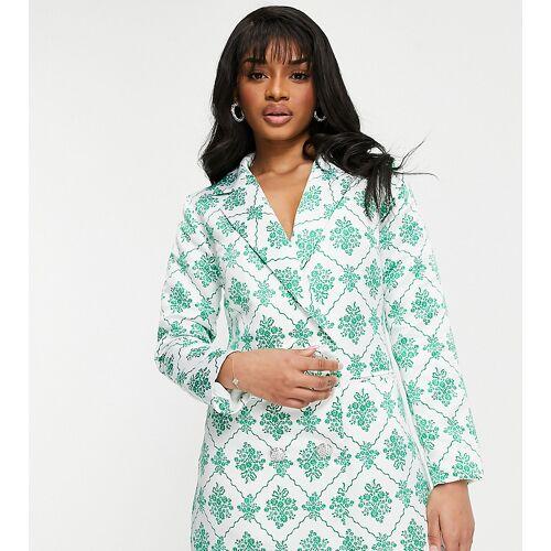 Collective The Label Petite – Blazer-Kleid mit Kristallknöpfen und Edelsteindruck in Grün 36