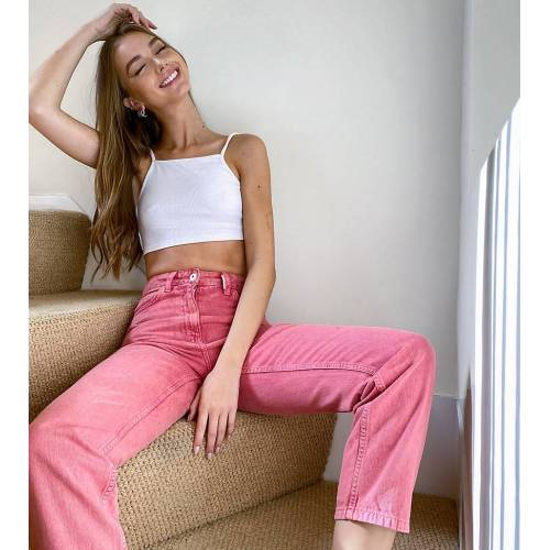 COLLUSION x006 Mom-Jeans in nostalgischem Rosa W26 L28