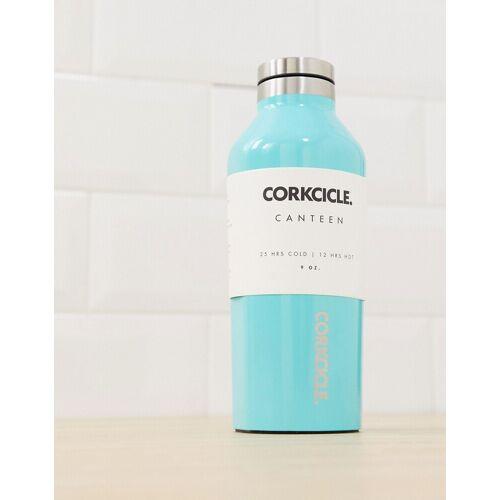 Corkcicle – Türkis glänzende Trinkflasche, 270 ml-Blau No Size