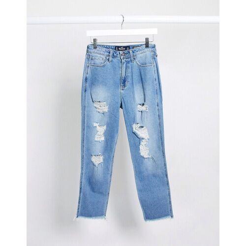 Hollister– Mom-Jeans im Used-Look-Blau 1R
