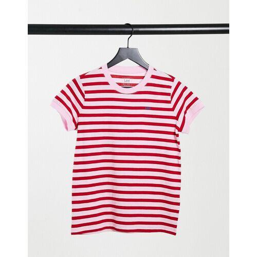 Lee Jeans Lee – Gestreiftes T-Shirt in Rosa XS