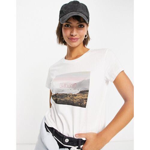 Levis Levi's – T-Shirt in Weiß mit eckiger Grafik und Logo S
