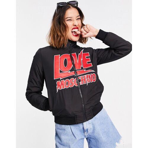 Love Moschino – Bomberjacke mit Blitz-Logo vorne in Schwarz IT 42