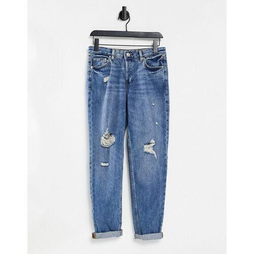 Mango – Enge Jeans mit abgetragener Optik in Blau 40