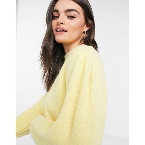 Mango – Weicher Pullover mit Puffärmeln in Zitronengelb XL