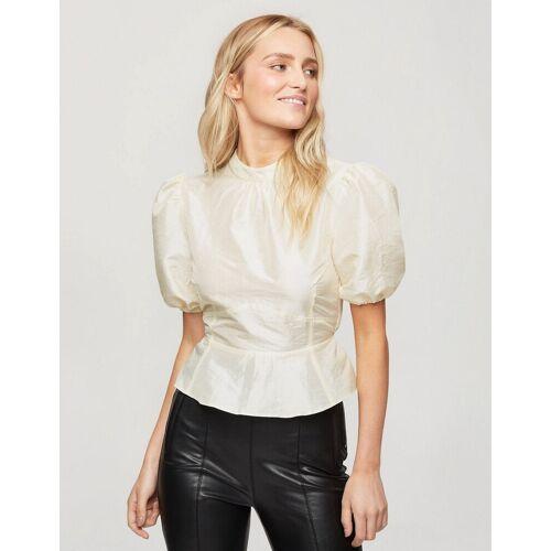 Miss Selfridge – Organza-Bluse mit Puffärmeln in Creme-Weiß UE 42