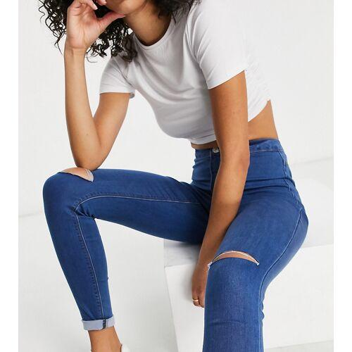 Missguided Tall – Vice – Jeans mit Abnutzungseffekten am Knie in Blau 32
