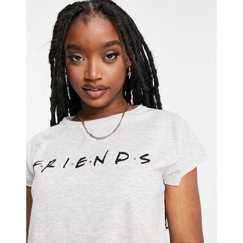 NA-KD X Friends – T-Shirt mit unbehandeltem Saum in Grau M