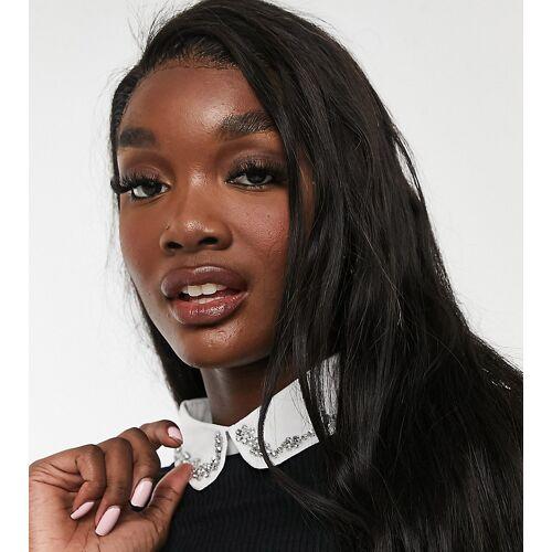 New Look Tall – Schwarze Bluse mit kristallbesetzem Kragen 40