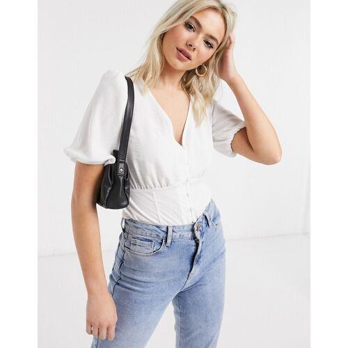 New Look – Vorn geknöpfte Bluse in Weiß 34