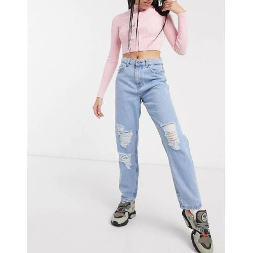 Noisy May – Mom-Jeans in heller Waschung mit Abnutzungseffekten-Blau W32 L32