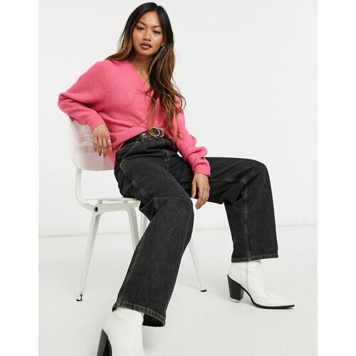 Only – Oversize-Pullover mit V-Ausschnitt in leuchtendem Rosa L