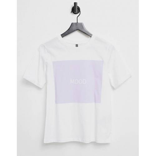 """Pieces – T-Shirt in Weiß mit fliederfarbenem """"Mood""""-Motiv S"""