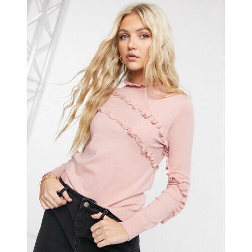 QED London – Hochgeschlossener Pullover mit Rüschentails in Rosa M / L