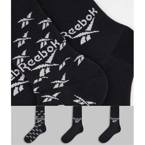 Reebok – 3er-Pack Socken mit Logo in Schwarz M