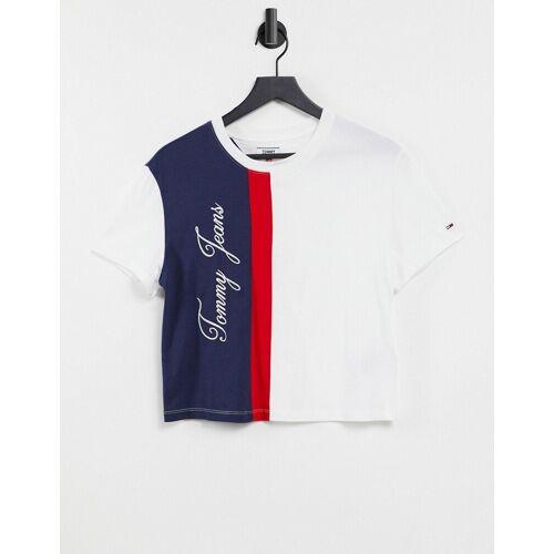 Tommy Jeans – T-Shirt mit Blockfarbendesign und Logo in Weiß-Bunt XS