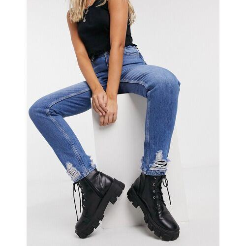 Topshop – Mom-Jeans in halbverwaschenem Blau W32L32