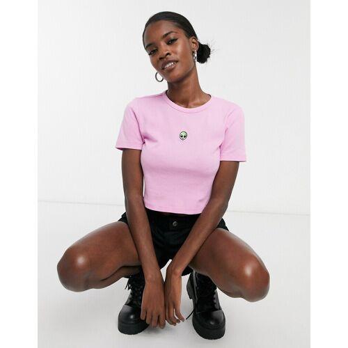 Topshop – T-Shirt mit Alien-Stickerei in Rosa 44