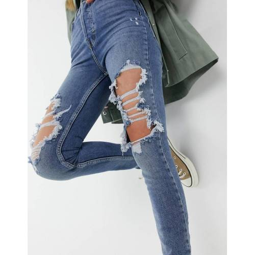 We The Free by Free People We The Free von Free People – Enge Jeans mit Rissen in Blau W29
