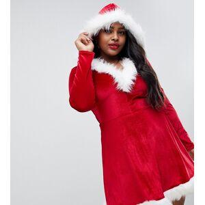 Club L London Plus Club L Plus – Santa – Weihnachtliches Kleid mit Besatz aus Kunstfell-Rot 46