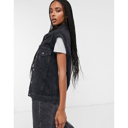 AllSaints– Alva –Ärmellose Jeansjacke in Schwarz L