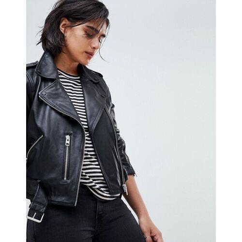 AllSaints – Balfern – Bikerjacke aus Leder-Schwarz 32