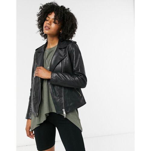 Allsaints – Elva – Schwarze Bikerjacke aus Leder 32