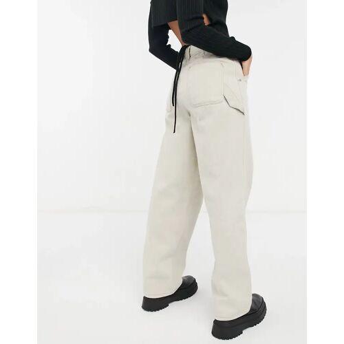 """ASOS DESIGN – """"Arbeiter""""-Jeans mit hohem Bund in Stein W32 L34"""
