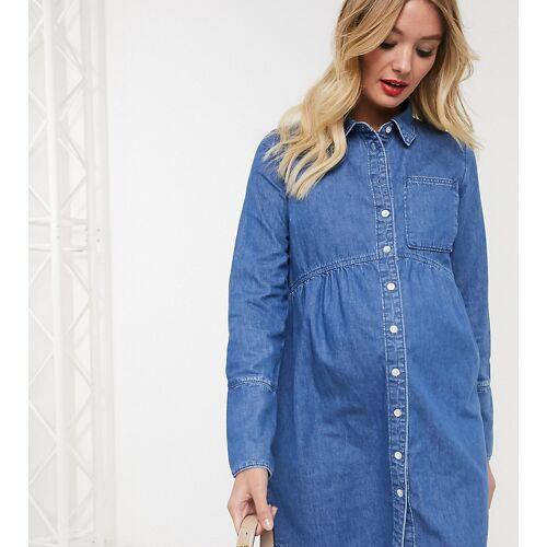 ASOS Maternity ASOS DESIGN Maternity – Jeans-Hemdkleid in Blau 46