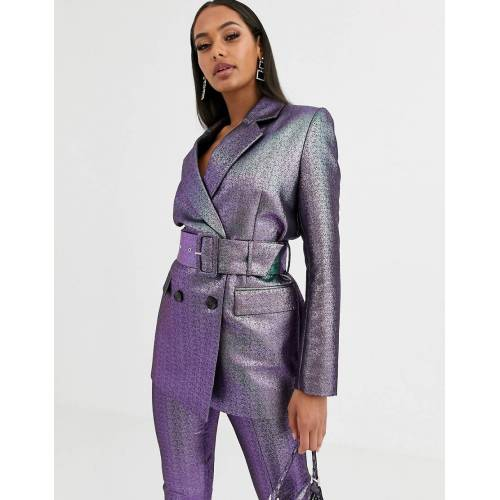 ASOS DESIGN – Oilslick – Anzug-Blazer mit Gürtel und Metallic-Design-Mehrfarbig 36